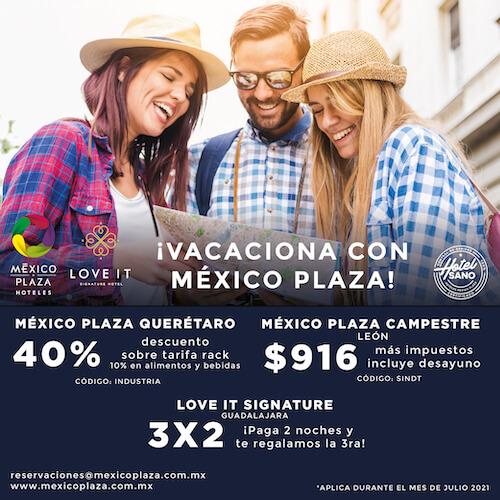 Hotel México Plaza Querétaro -  40% de descuento sobre tarifa rack, 10% en alimentos y bebidas CODIGO: INDUSTRIA. * Aplica durante el mes de Julio 21