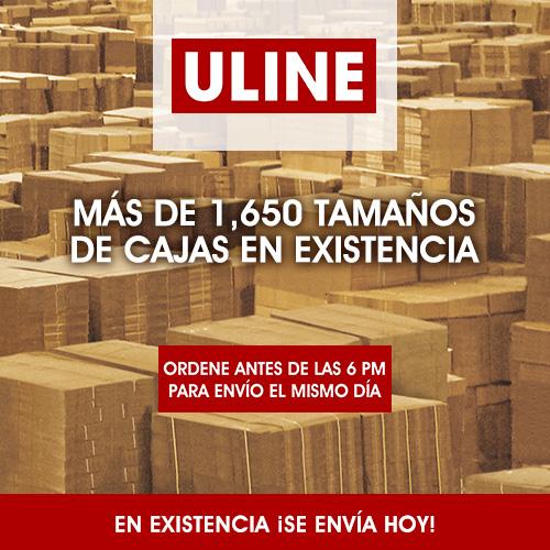 Uline mas de 1650 tamaños de cajas en existencia